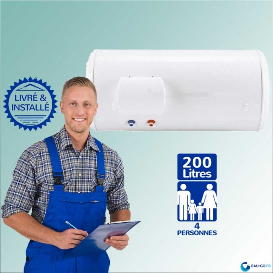 Chauffe eau électrique 200L  Horizontal sortie basse
